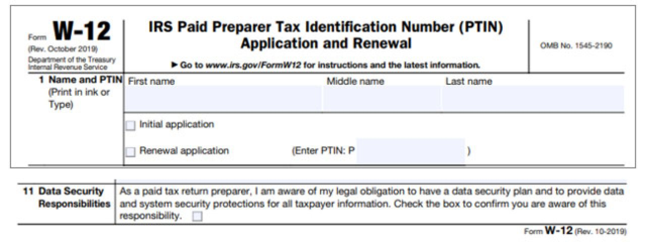IRS Adds Security Requirement to W-12 PTIN Application and Renewal Form