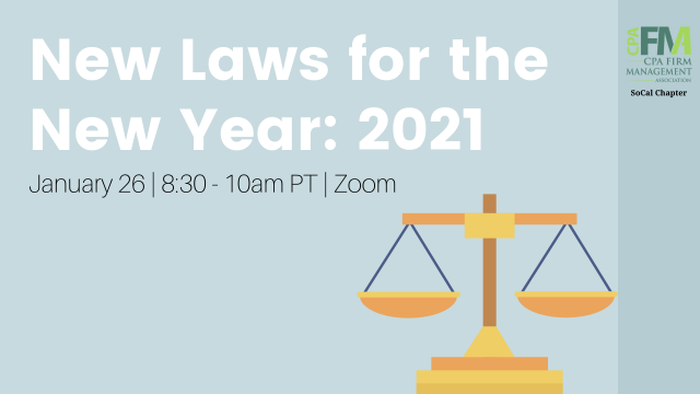 SoCal Chapter: New Laws for the New Year:  2021