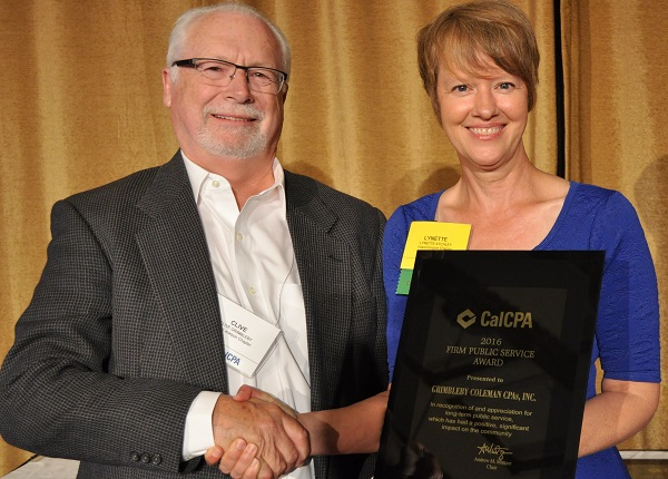 CalCPA Presents Grimbleby Coleman CPAs with Public Service Award for Firms